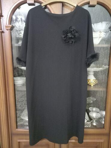 чёрное платье размер 50 52 в Кыргызстан: Платье очень красивое50 - 52 размерана рукаве мех натуральный