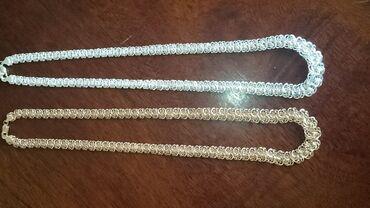 Стильные цепи- колье плетение Роза серебро 985 пробы, золото 585