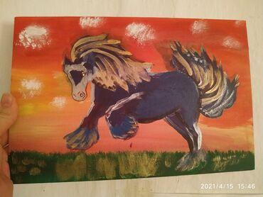 Звёздный конь с золотой гривой на закате, рисовала сама