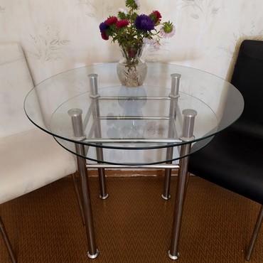 стол стеклянный в Кыргызстан: Стол стеклянныйДиаметр 84 смВысота 78 смТолщина стекла 8 ммНожки