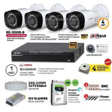 Dahua Kamerası4 ədəd Kamera 1 MP500 GB YaddaşDVR 4 PortDC və BNC