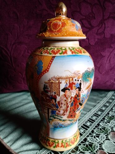 Kineska vaza,cup,nova rucno oslikana iz 70-ih. Visina sa