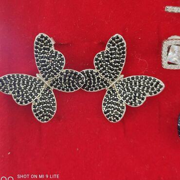 Бабочка Серьги-гвоздикиСеребро 925 пробыДизайн ИталияКамни черные