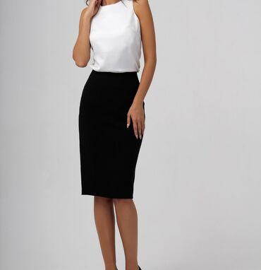 brand in trend в Кыргызстан: Черная юбка карандаш Длина ниже колена Сзади разрез Размер. S-M