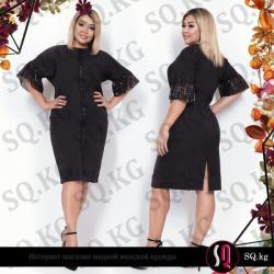 черное платье футляр в Кыргызстан: Элегантное платье-футляр украшенное вставками из легкой ткани с