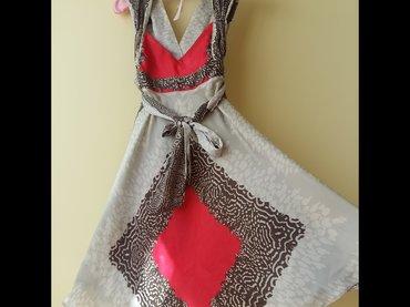 Sarena leprsava haljina, saten-svila, vrlo malo nosena, s velicina, - Beograd