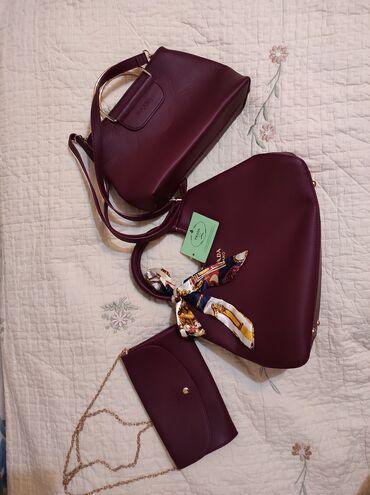 Сумки - Бишкек: Продаю комплект из трех НОВЫХ СУМОК, с этикеткой. Шикарный цвет Марсал