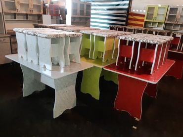 Продаю стол 6шт табуретка размер длина в Бишкек