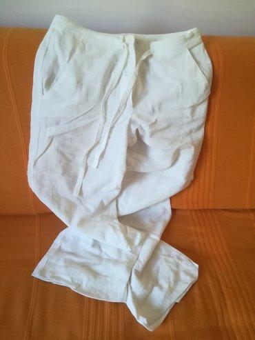 Ženska odeća | Vranje: Bele lanene pantalone za leto vel 36, obim struka 74 cm, dužina 96+8