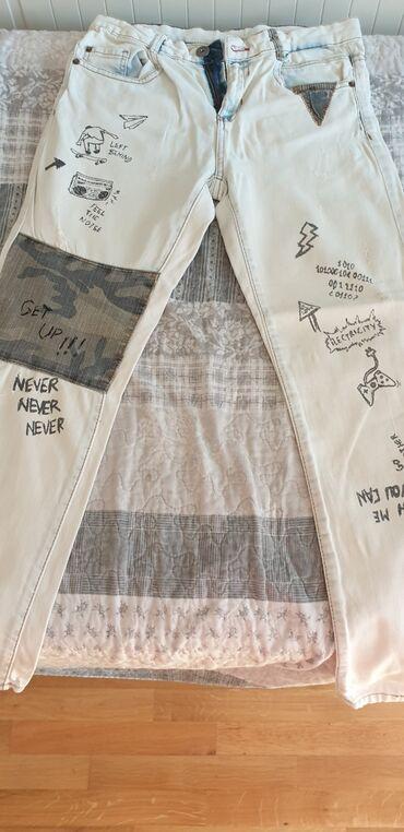 Maskirne pantalone - Srbija: Zarine decije farmerke,za decaka 11-12god., 152cm, bele,sa maskirnim