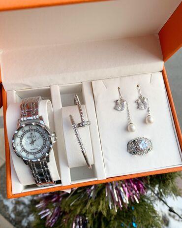 Браслеты набор - Кыргызстан: Женский набор 4в1  В набор входят  Часыкольцо браслет серьги .  В