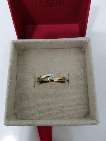 Кольцо с бриллиантом 750 проба, жёлтое и белое золото размер 18.5