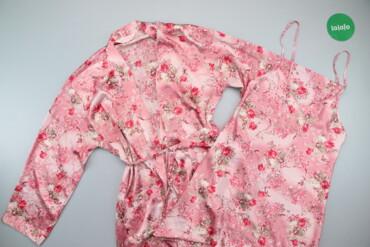 Жіночий спальний комплект у квітковий принт нічна сорочка та халат бре