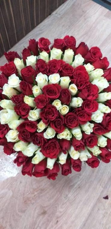 Цветы 101 роза по низким ценам цветочном салоне Согдиана в Бишкек