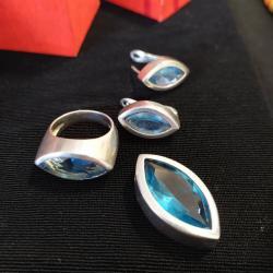 Серьги б у - Кыргызстан: Комплект серебро,б/у. проба имеется. Камень кварц. Серьги, подвеска