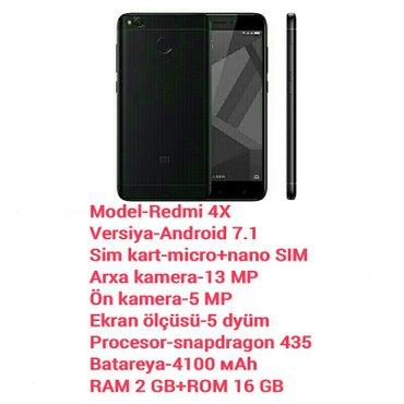 Gəncə şəhərində Xiaomi redmi 4x qara rəng 2 gb ram 16 gb rom