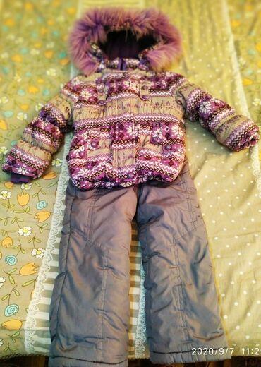 Очень тёплый зимний костюм тройка, на девочку 3-5 лет. В хорошем