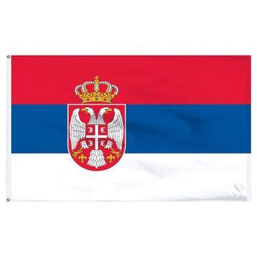 Značke, ordeni i medalje | Srbija: Zastava Srbije 150 x 90 cm, sa štepom za barjakPolyester 100% -