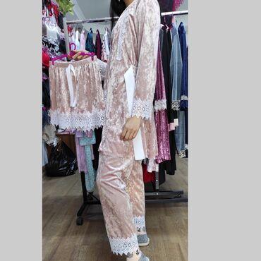 домашний лимон в Кыргызстан: Велюровая пижама, набор пижамы 4в1, размеры стандартные, доставка по