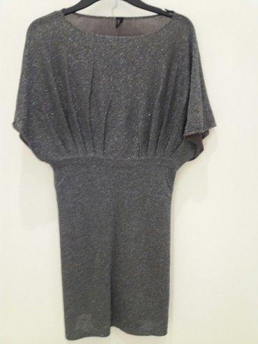 Sivi donji deo - Srbija: Top shop tamno siva haljina sa srebrnim nitima, veličina 38. Donji deo
