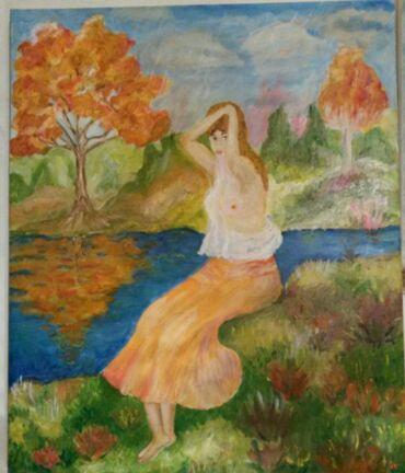 Slike   Sopot: Ulje na platnu. Bogat nanos boje. 60x50. Autorka Iv. Tel