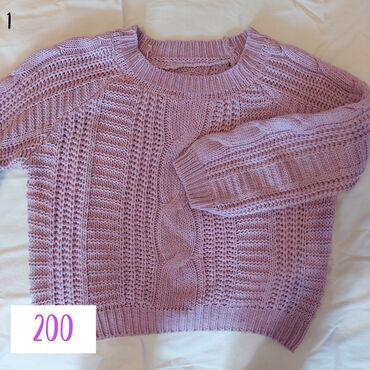 1. фиолетовый вязаный свитер. размер стандарт, нигде не колит2