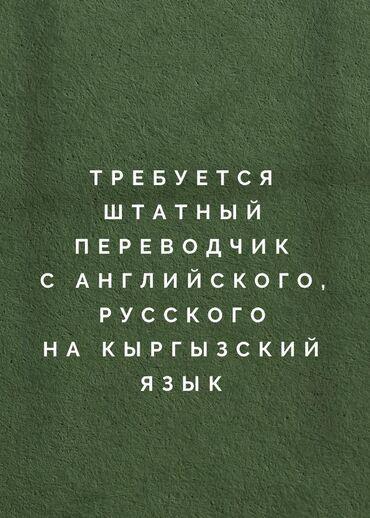 работа с оплатой каждый день in Кыргызстан   ДРУГИЕ ИНСТРУМЕНТЫ: Переводчик. Английский. С опытом. Полный рабочий день