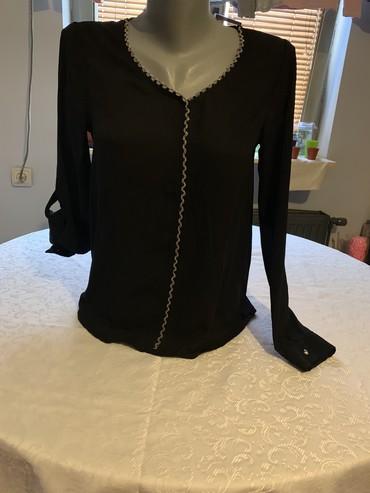 Kosulja-broj-crna - Srbija: Kosulja bluza s vel crna providna laganog materijala sa srebrnim
