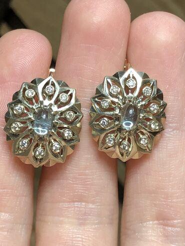Золотые серьги с бриллиантами и топазом Вес 8,39 Проба 583️ Бакинский