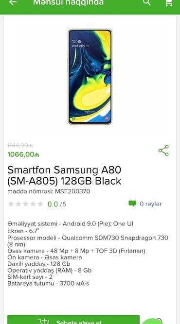 Электроника в Гобустан: Samsung A 80  Tam zəmanətlə + qeydiyyat  Yalnız 1 kartla 18 ayadək his
