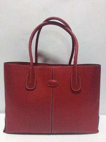 TOD S velika original kožna crvena torba izradjena od prirodne