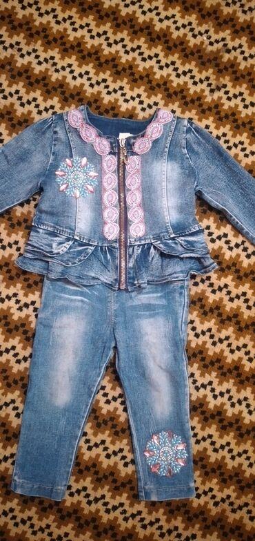 джинсовый корсет в Кыргызстан: Детская джинсовая курточка со штонишками для девочки от 1 года до 2х