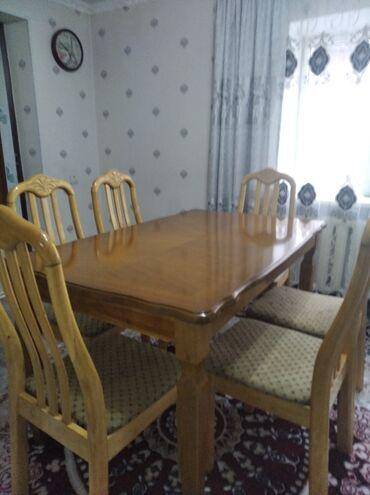 stol kuhannyj в Кыргызстан: Продаю стол комплект со стульями 6 шт. Размер стола 1.40длина, ширина