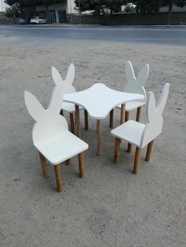 uşaq oturacaqları - Azərbaycan: 1 dest 1 masa 4 oturacaq mdfden 250 azn diktden 200