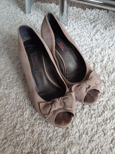 Kozne cipele - Srbija: Paar kozne cipele sa otvorenim prstima br 37 ugg 24cm. Prevrnuta koza