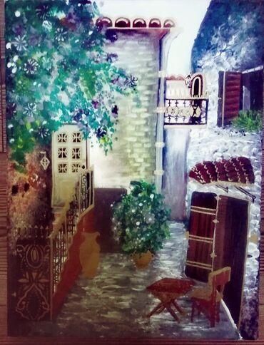 """Slika """"Dvorište"""" 40 x50 cm Ulje na platnu"""
