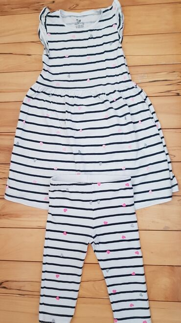 Devojke - Srbija: H&M haljinica sa helankama za devojcice, bela sa srcićima, vel