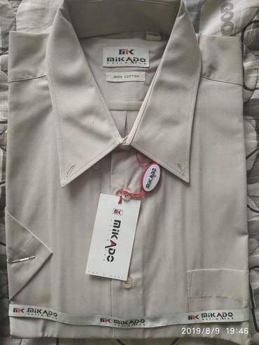 Новая мужская рубашка размер 44/184 с коротким рукавом цвет молочный