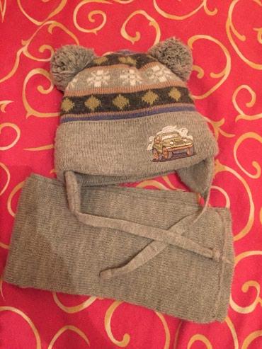 Польская Шапка с шарфом двойной вязки на 2-3 года, теплая. Сост 350с в Бишкек