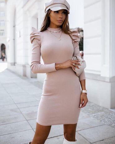 Prelepa haljina sa 'puf' rukavimaMaterijal: rebrasti pamukCena: 1090