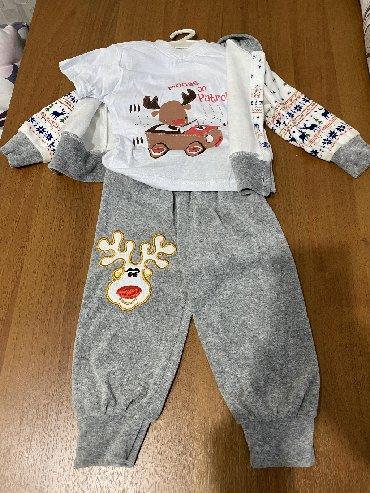 велюровый спортивный костюм в Кыргызстан: Новый велюровый костюм с футболкой, 9-12 мес, 400 сом