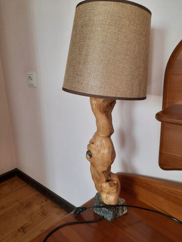Светильники 3 шт. Ножка резное дерево, подставка гранит