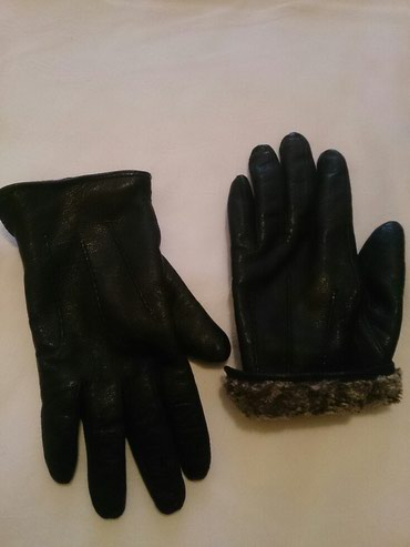 Bakı şəhərində Кожаные утепленные (внутри с мехом) перчатки на 12-13 лет