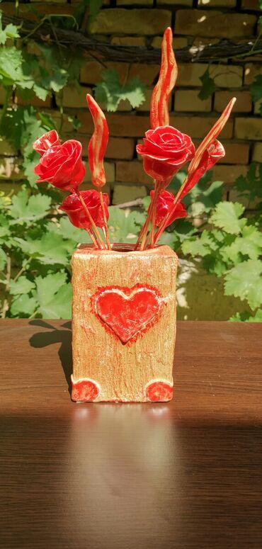 Kućni dekor - Ruski Krstur: VazaUkrasna vaza sa cvetovima od hladnog porcelana, rucni rad. Visina