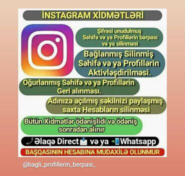 bmw 3 серия 325i kat - Azərbaycan: Sosial sebekelerde,Instagram da bagli hesablarin berpasi,silinmesi xid