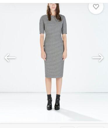 платье миди в Кыргызстан: Шикарное платье zara футляр принт гусиная лапка ломаная клетка длины