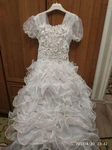 Платье с накидкой, нарядное, праздничное, пышное. На 6-9 лет. Цена