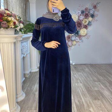 r 44 46 в Кыргызстан: Платье Трапеция Ткань Корейский велюр Размеры 42 44 46 48