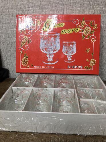 Фужеры - Кыргызстан: Продаётся набор. Фужеры с рюмками. Очень красивые. 6 штук фужеров и 6