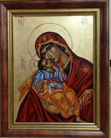 Ikone - Beograd: Ikona, Bogorodica, ručno oslikana i pozlaćena (nije štampa), na